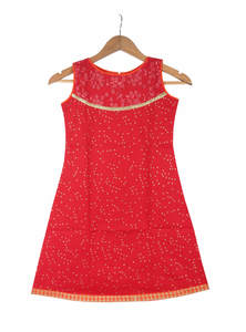 Alizarin Red Cotton Single Kameez For Girls