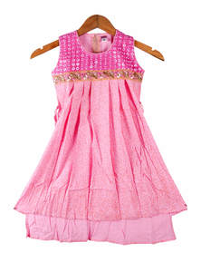 Light Pink China Linen Frock For Girls