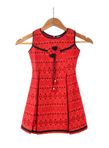 Fire Red Slap Cotton Frock For Girls