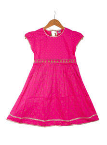 Deep Pink Cotton Frock For Girls