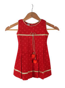 Carmine Red Slap Cotton Frock For Girls