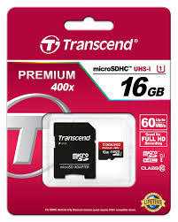 Transcend 16GB MicroSDXC Class10 UHS-1 Memory Card with Adapter 60 MB/s