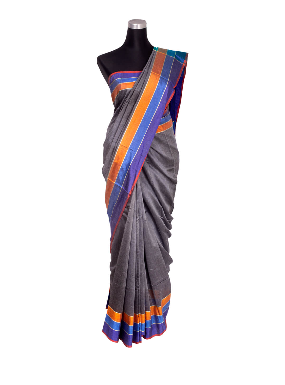 Deep Violet Half Silk Saree With Multi-color Border