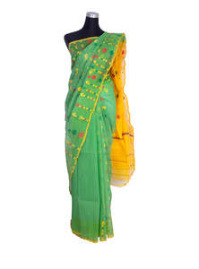 Silver Green Half Silk Jamdani Saree