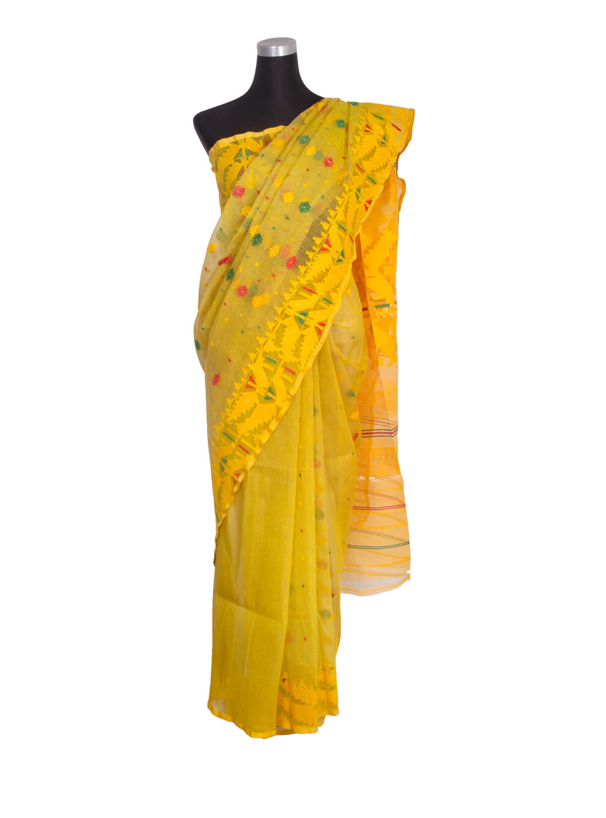 Gold Yellow Half Silk Jamdani Saree