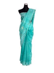 Spray Blue Half Silk Jamdani Saree