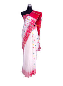 Red White Half Silk Jamdani Saree