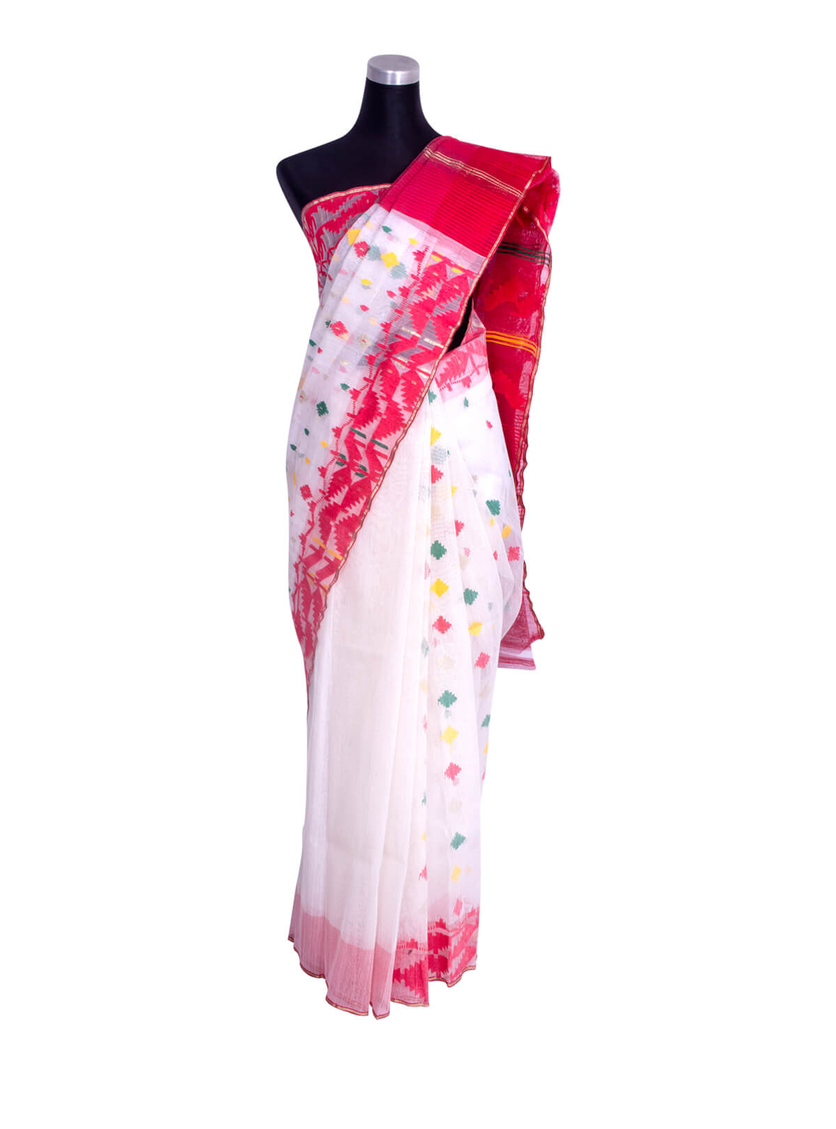 Red White Half Silk Jamdani Saree