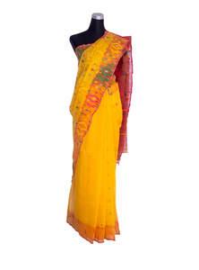 Selective Yellow Half Silk Jamdani Saree