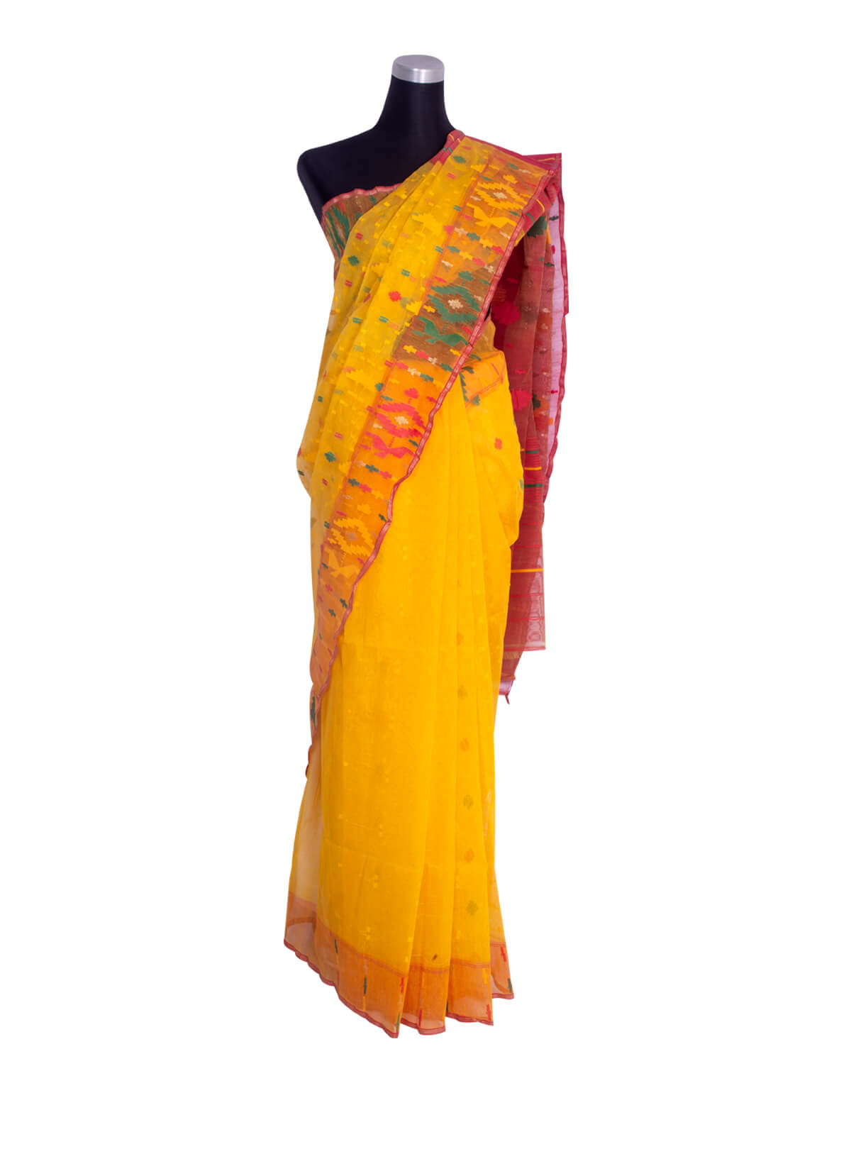 Selective Yellow Half Silk Jamdani Saree