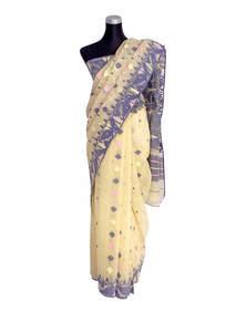 Beige Half Silk Jamdani Saree