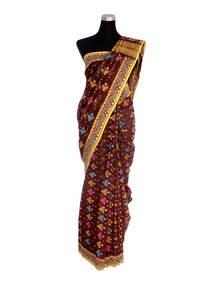Chocolate Brown Cotton Jamdani Saree