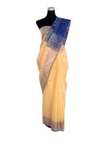 Light Gold Yellow Half Silk Jamdani Saree