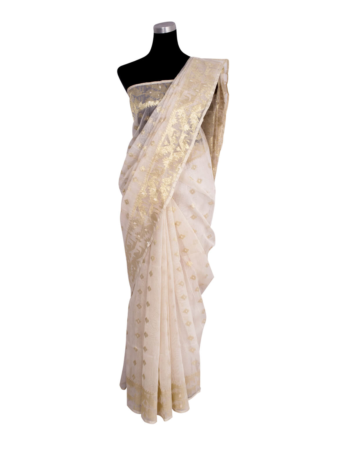 Snow White Half Silk Jamdani Saree