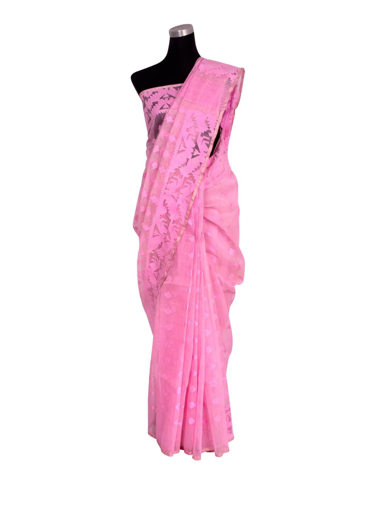 Lavender Pink Half Silk Jamdani Saree