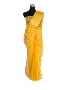Supernova Yellow Half Silk Jamdani Saree