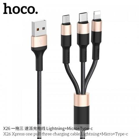 Hoco X26 3 In 1 Rapid Charging Cable