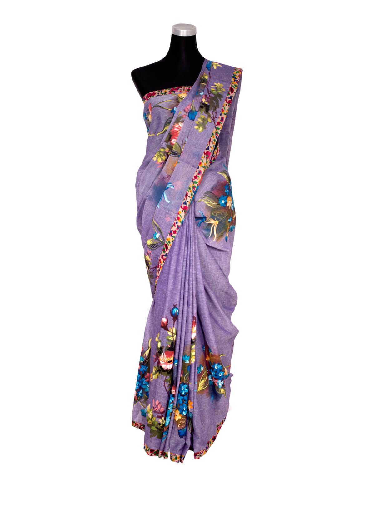 Endi Cotton Hand Paint Designed Saree