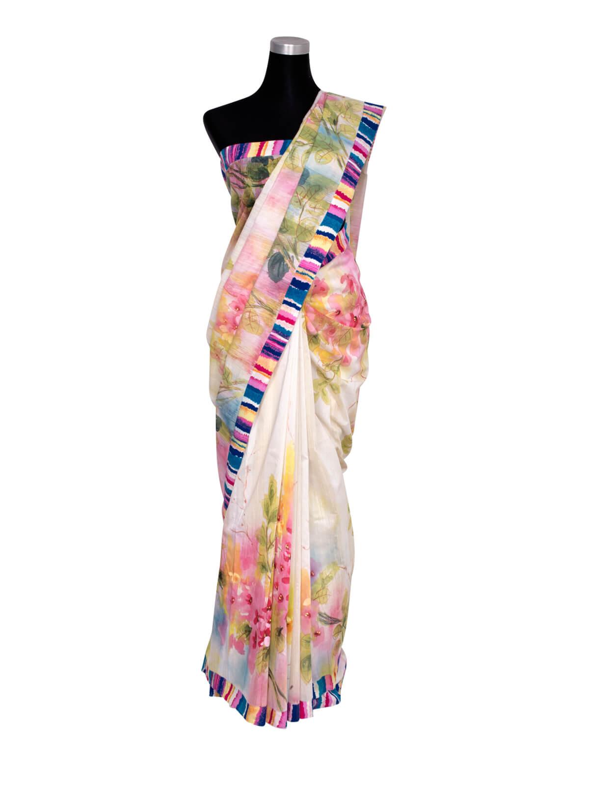 Half Silk Hand Paint Designed Saree