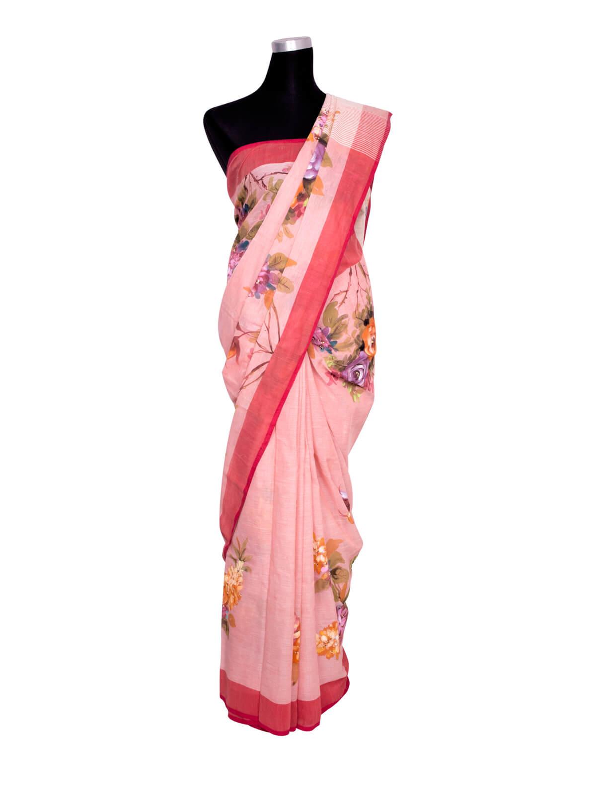 Pink Hand Paint Cotton Saree