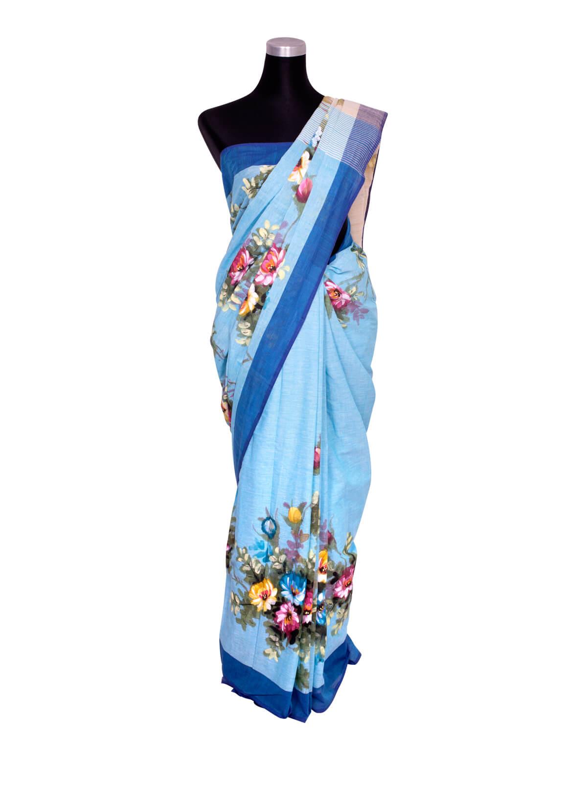 Blue Hand Paint Cotton Saree