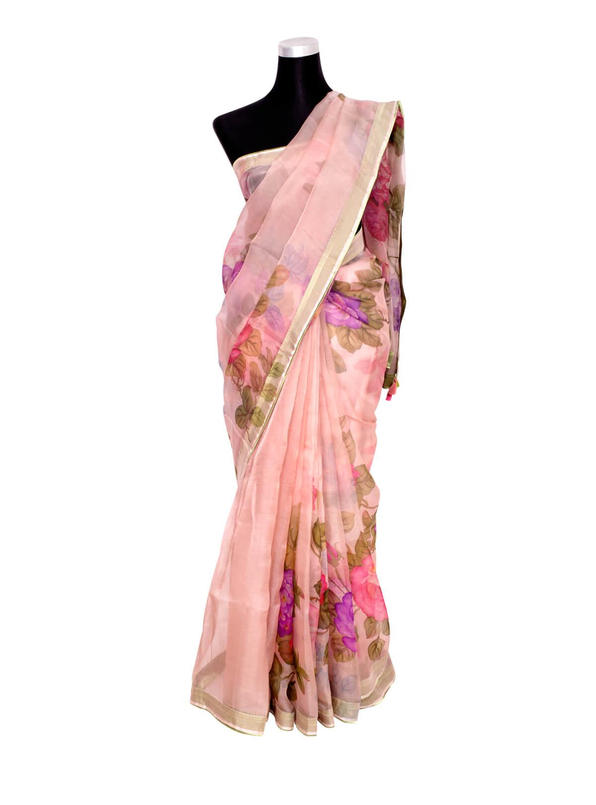Pink Hand Paint Muslin Saree