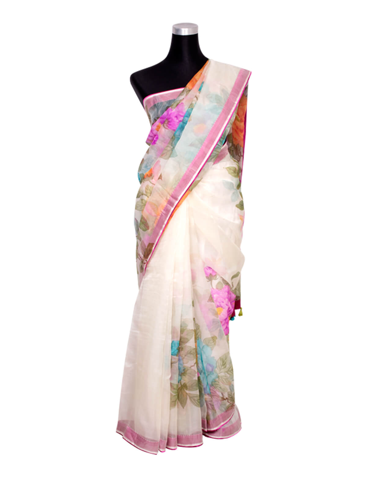 Floral White Hand Paint Muslin Saree