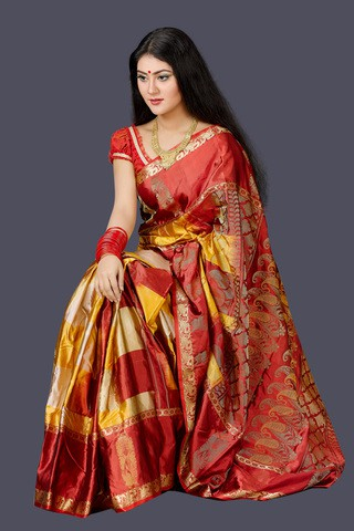 Red and Orange Soft Silk Saree