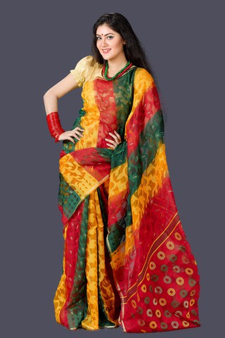 Multi color Maslin Jamdani Saree