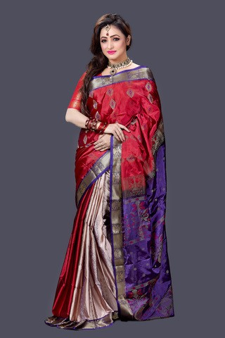 Red and Blue Pure Silk Saree