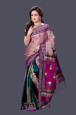Purple and Teal Gas Silk Saree