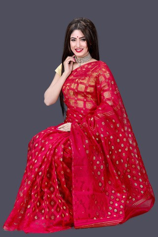 Pure Red Maslin Jamdani Saree