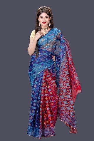 Blue and Red Maslin Jamdani Saree