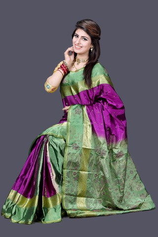 Green and Purple Silk Katan  Saree