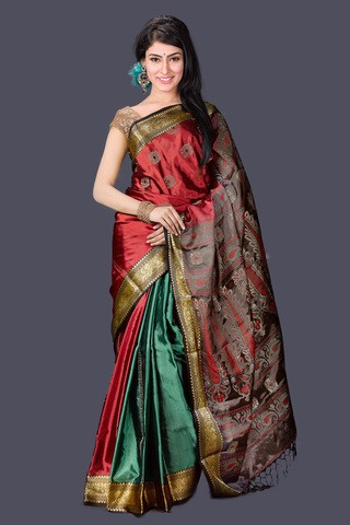 Multi color Silk Katan Saree