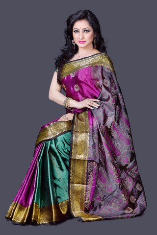 Purple Silk Katan Saree