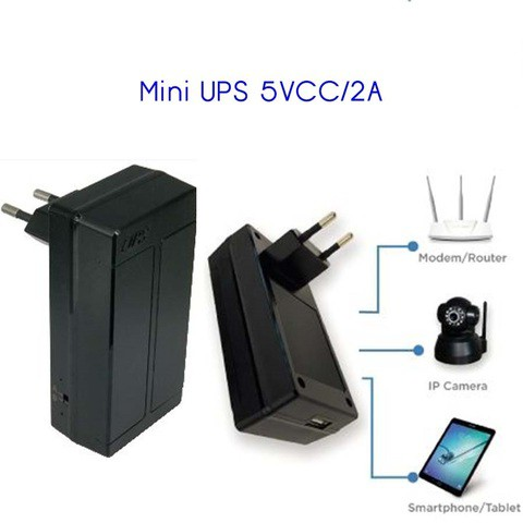 Mini UPS 5V 2A body plug for smartphone ip camera and router-Black
