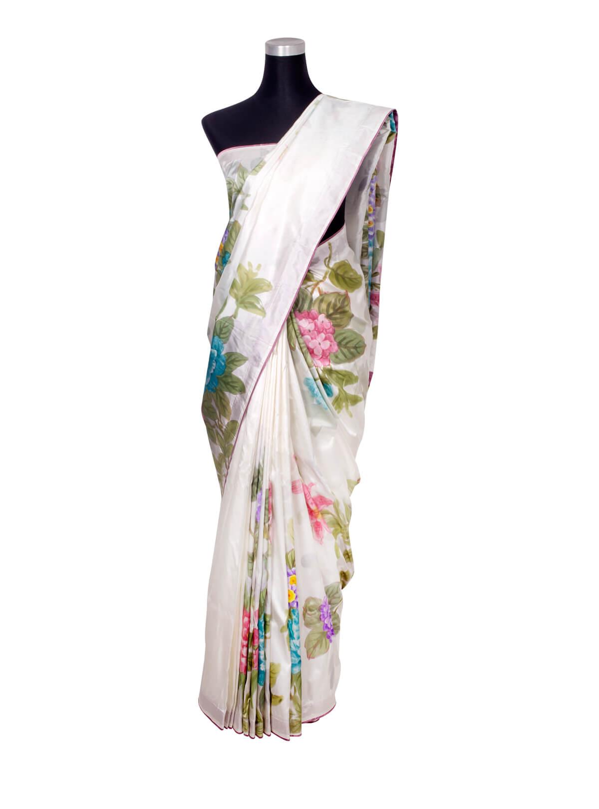 White Hand Paint Silk Saree