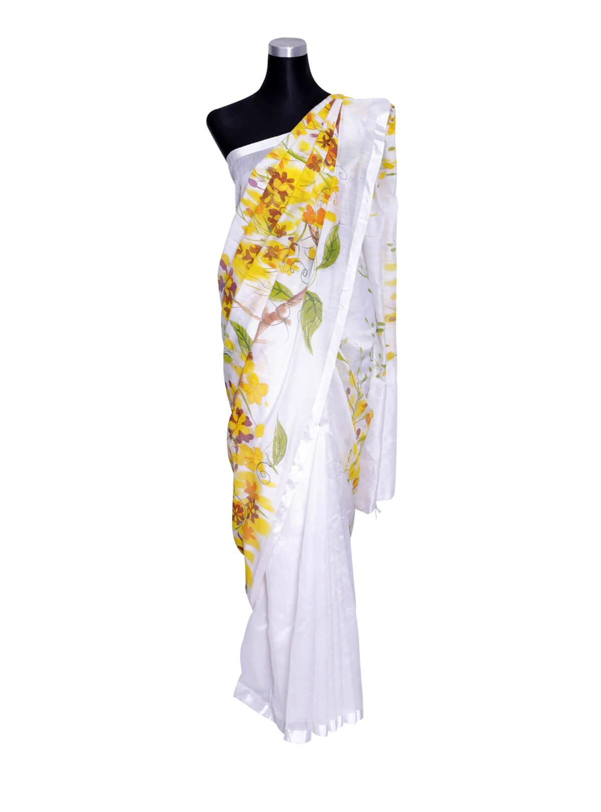 White Hand Paint Half Silk Saree