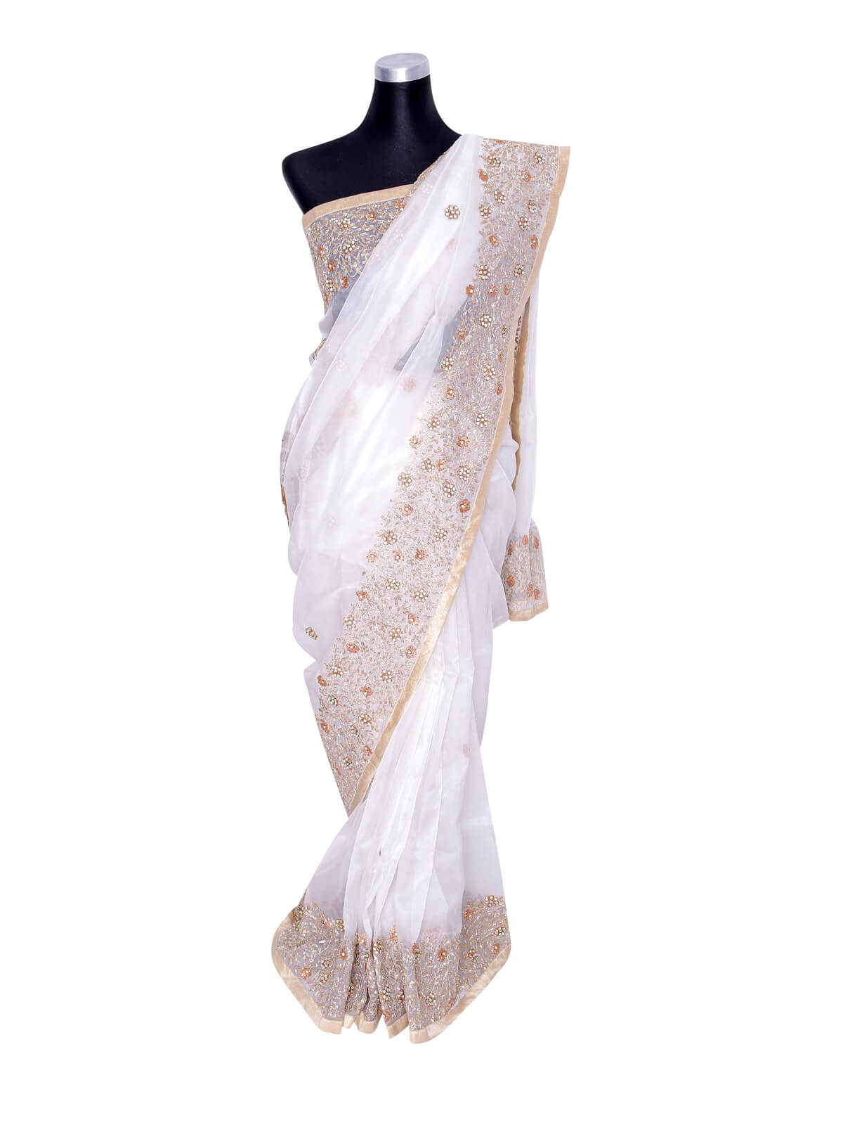 White Stone Worked Muslin Saree