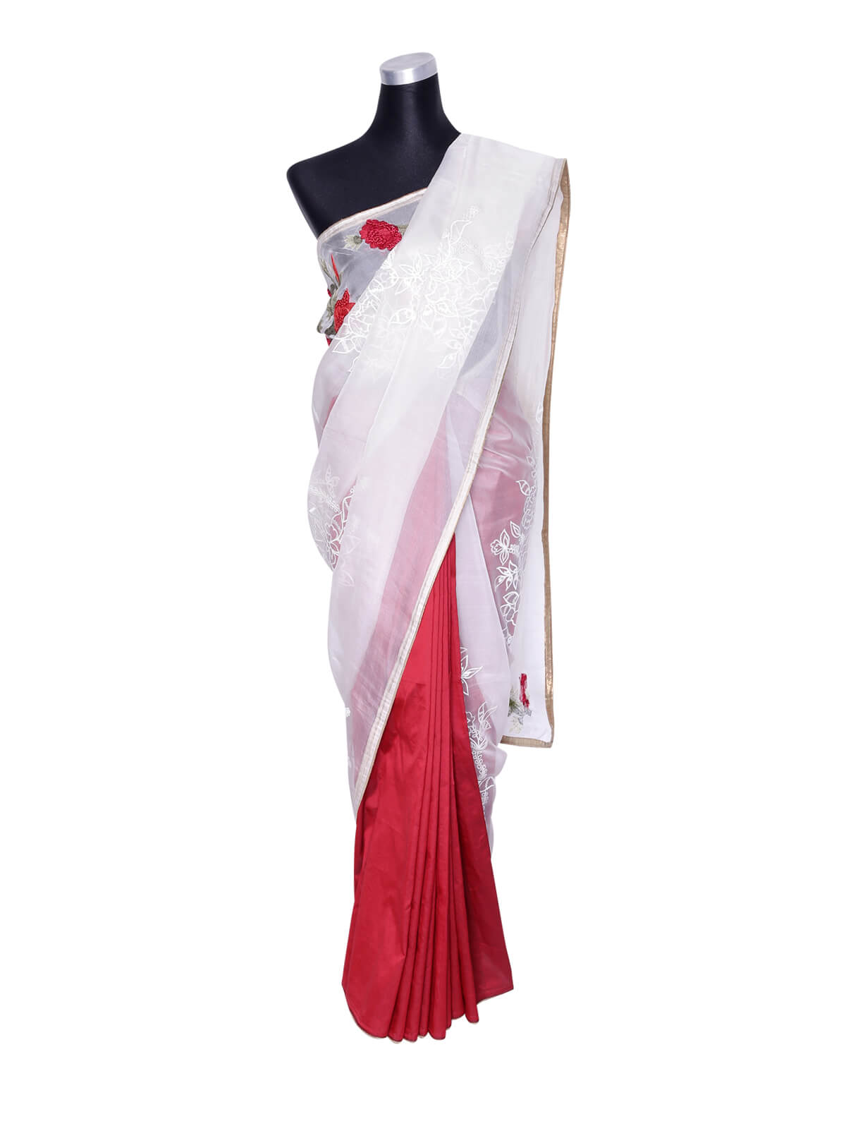 White Maroon Muslin Embroidery Saree