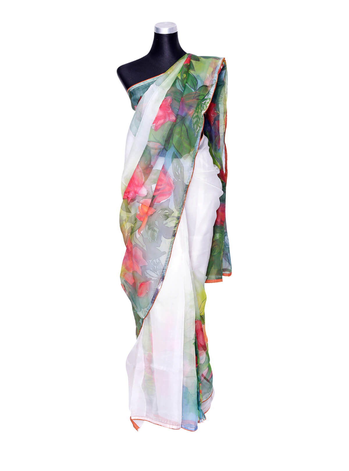 White Muslin Floral Hand Paint Saree