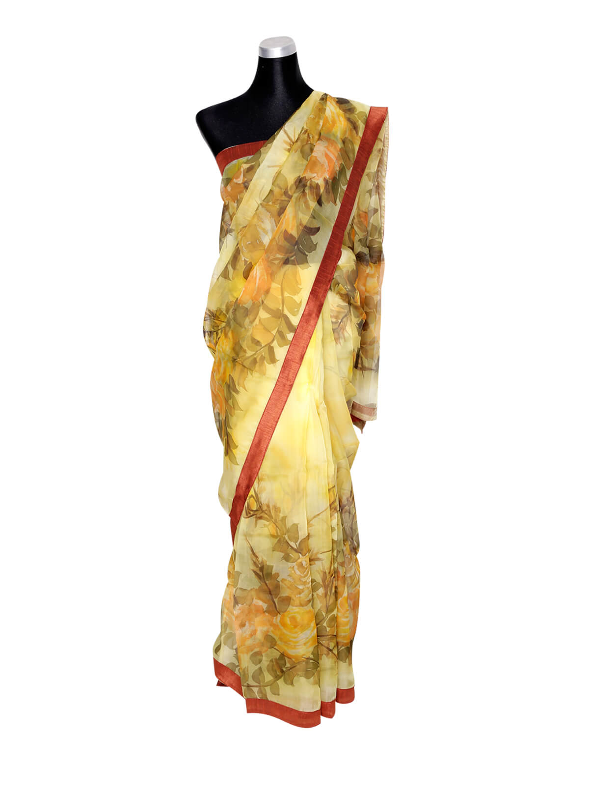 Light Yellow Muslin Hand Paint Saree