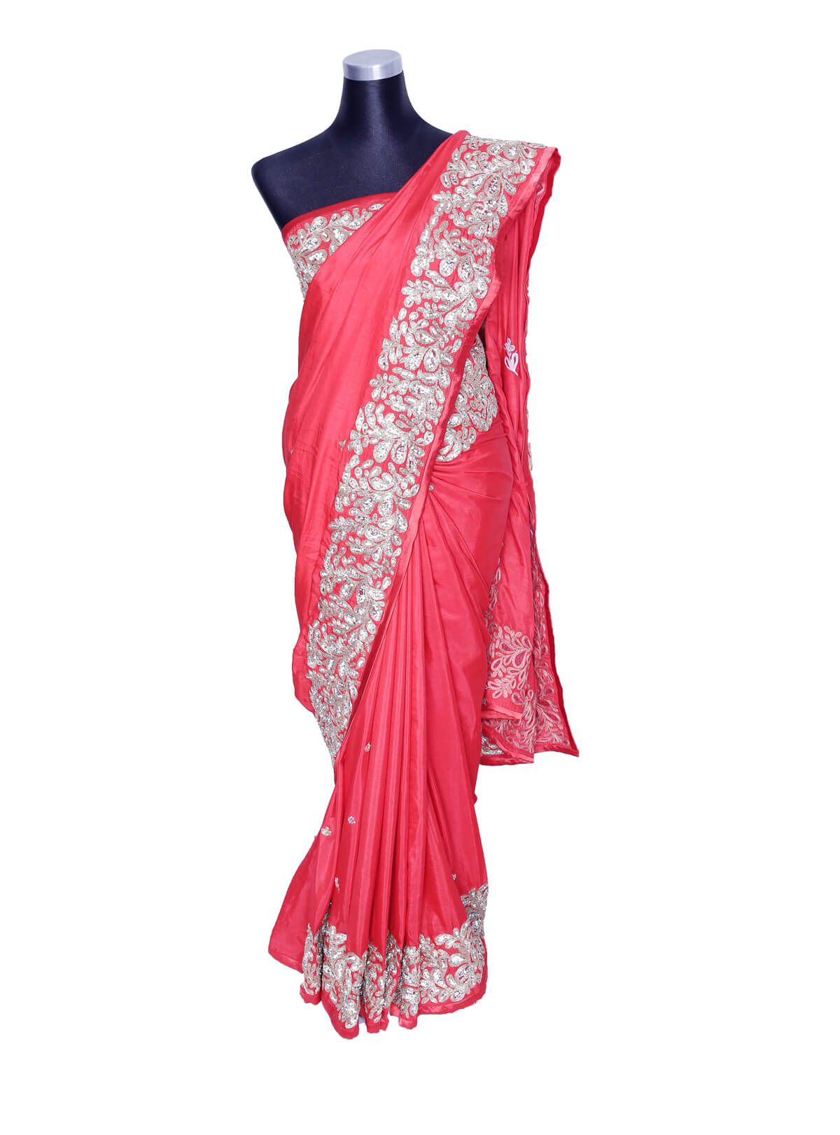 Brink Pink Silk Embroidery Jori Saree