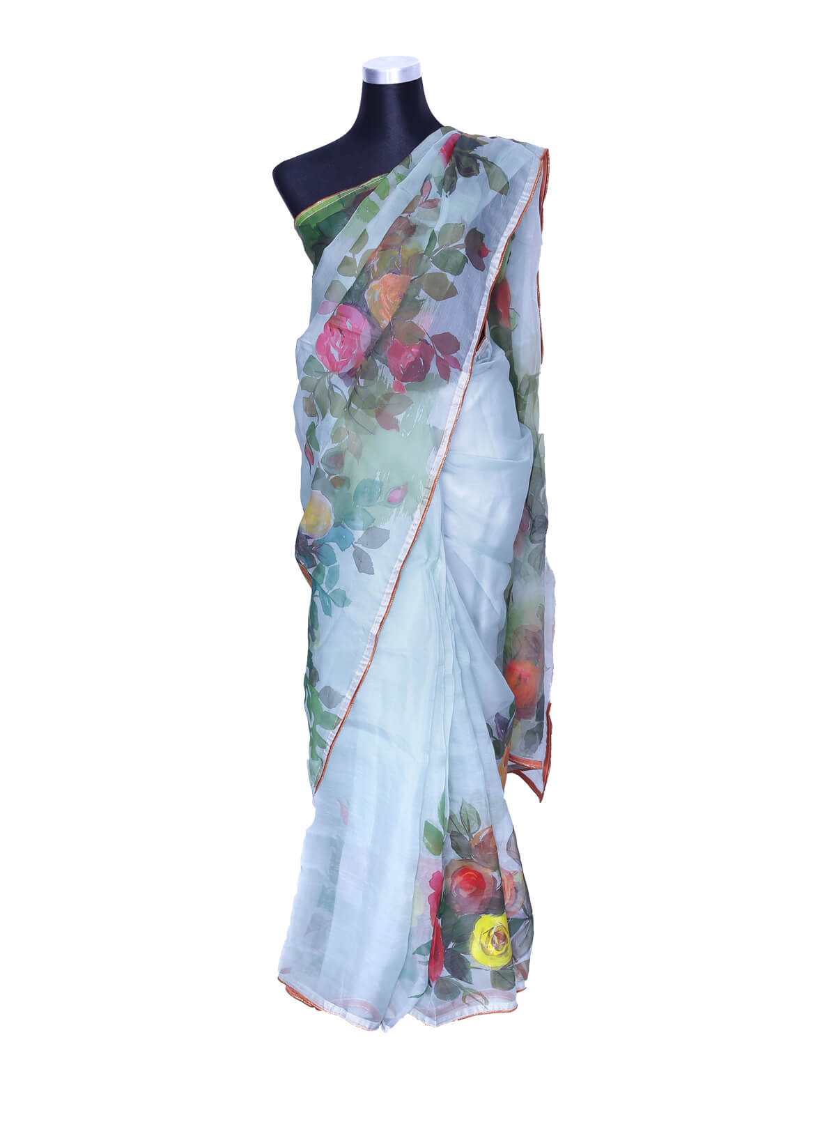 Tropical Blue Hand Paint Muslin Saree