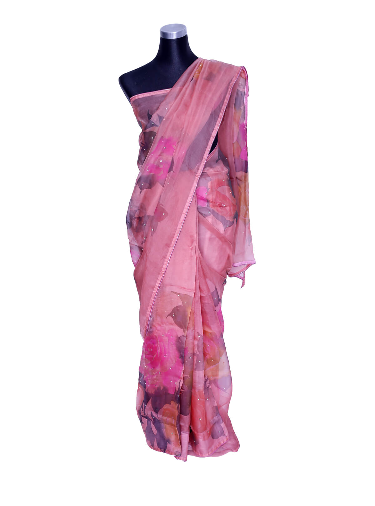 Light Pink Hand Paint Muslin Saree