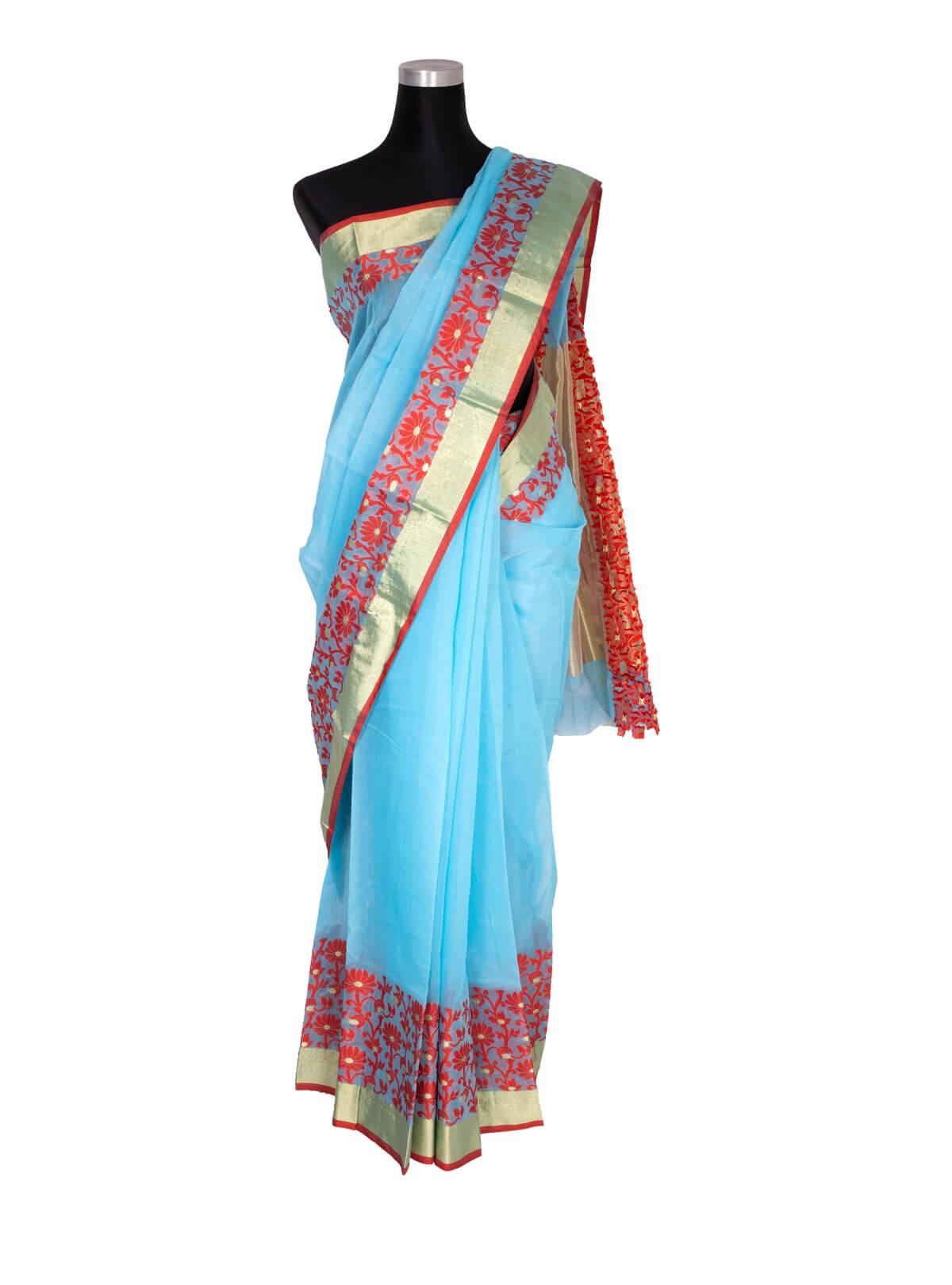 Turquoise Blue Tangail Half Silk Saree