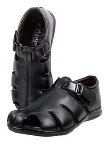 Black Leather Gents Sandal