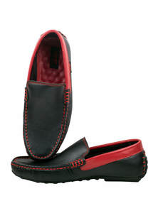 Black Red Leather Loafer