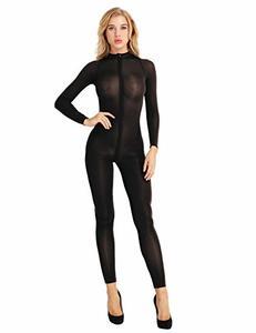 Lovebitebd Double Zipper Sheer Open Crotch Jumpsuit Rompers For Women